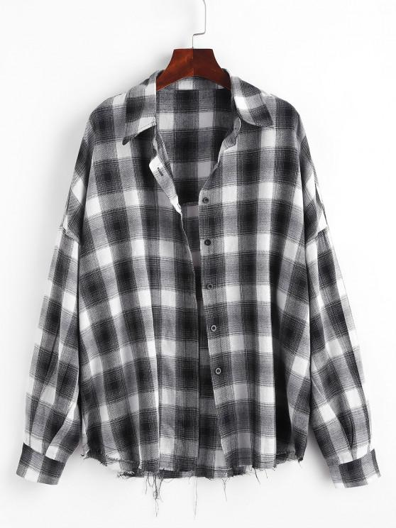 outfits Checked Raw Hem Oversized Shirt - BLACK XS
