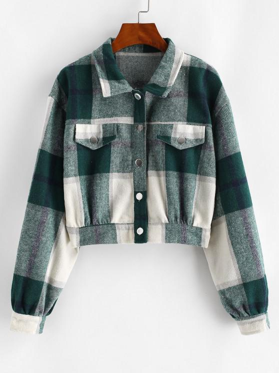 women's Button Up Plaid Wool Blend Jacket - DEEP GREEN M