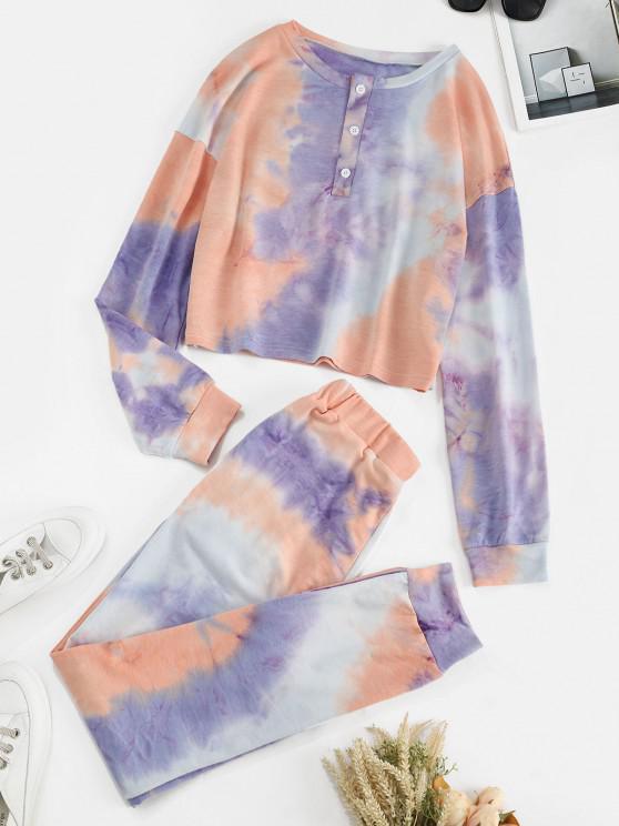 fashion Tie Dye Button Front Two Piece Sweat Suit - LIGHT PURPLE L