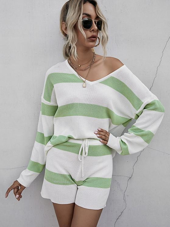 Striped Drop Shoulder Sweater Shorts Set - اخضر فاتح S