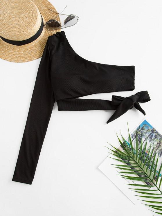 ladies ZAFUL Tie Waist Ribbed One Shoulder Swim Top - BLACK S