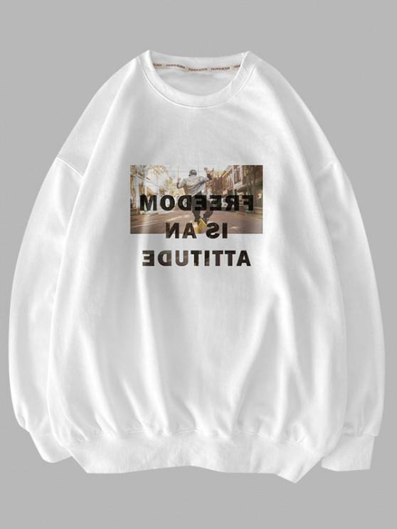 Sweat-shirt Pull-over Lettre Graphique à Col Rond - Blanc L