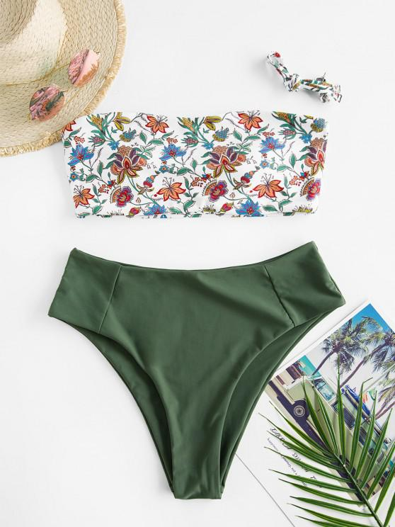 ZAFUL High Waisted Contrast Plant Print Bikini Swimwear - اخضر فاتح S