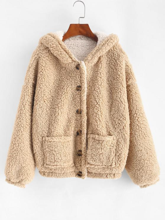 shops ZAFUL Hooded Double Pockets Reversible Fluffy Coat - CAMEL BROWN S