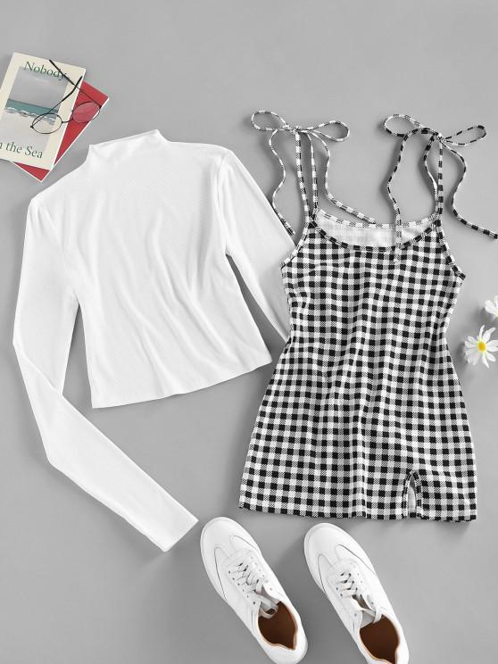 buy ZAFUL Ribbed Slim Tee with Plaid Tie Strap Dress Set - WHITE S
