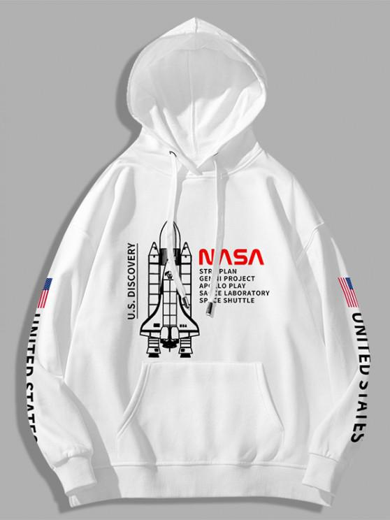 Space Shuttle American Flag Letter Print Graphic Hoodie - أبيض XS