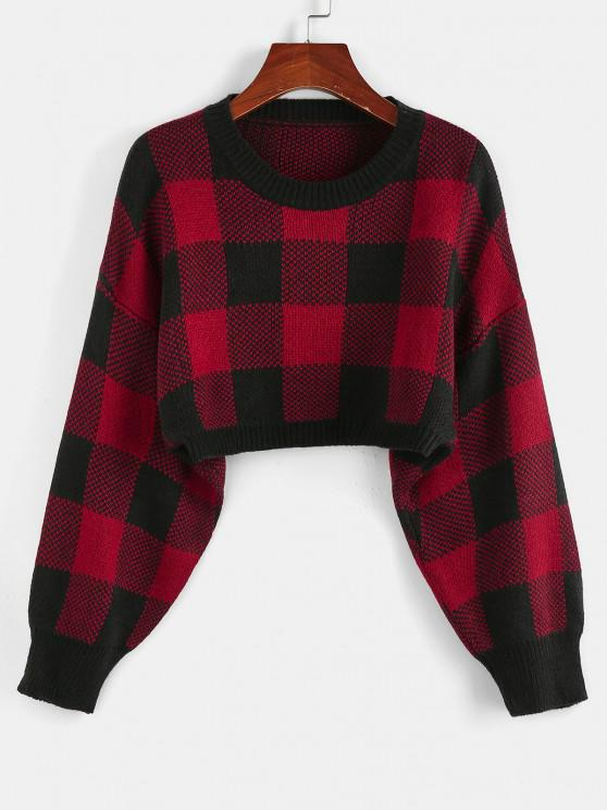 ZAFUL Plaid Drop Shoulder Crop Sweater - كستنائي أحمر S