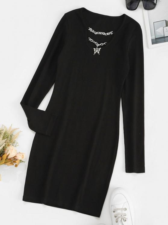 Chains Butterfly Ribbed Long Sleeve Bodycon Dress - ليل S