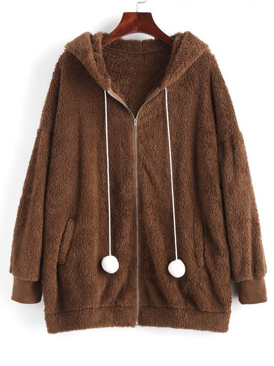 trendy ZAFUL Bunny Ear Hooded Drop Shoulder Plush Coat - DEEP COFFEE M