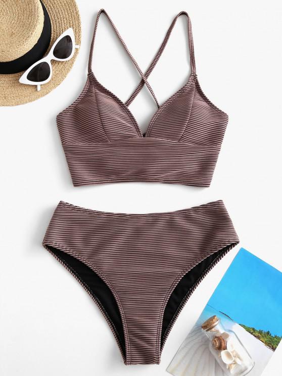 latest ZAFUL Textured Ribbed Crisscross Back Tankini Swimwear - DEEP COFFEE M