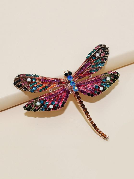 Dragonfly Shape Rhinestone Brooch - ذهبي