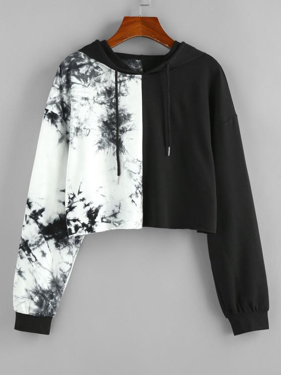 outfits ZAFUL Tie Dye Bicolor Cropped Hoodie - BLACK M