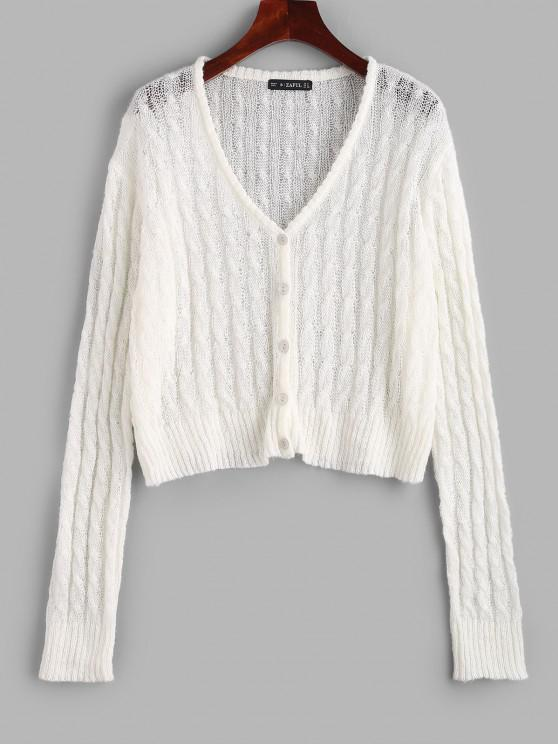 Cable Knit Semi Sheer Cardigan - أبيض L