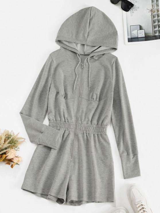 lady ZAFUL Drawstring Hooded Zip Front Sweat Romper - LIGHT GRAY S