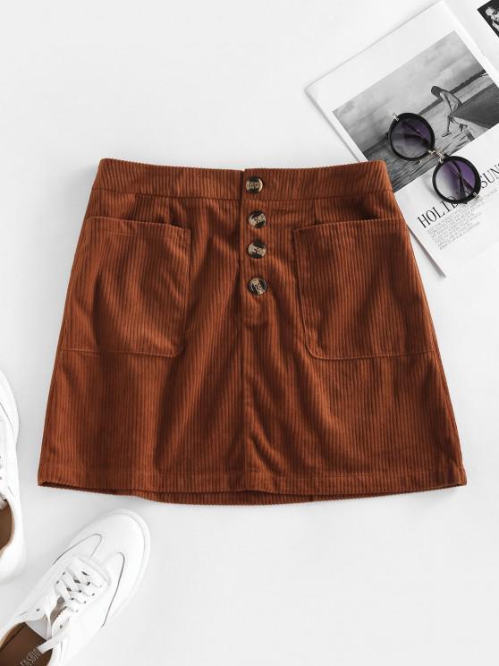 ZAFUL Corduroy Pocket Button Fly Skirt - Brown Bear S