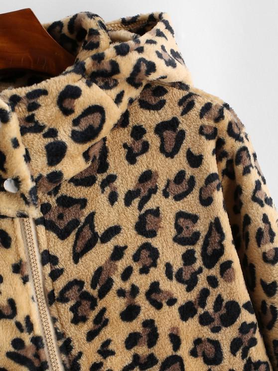 Pockets Zip Up Leopard Faux Fur Coat - Wood S | ZAFUL