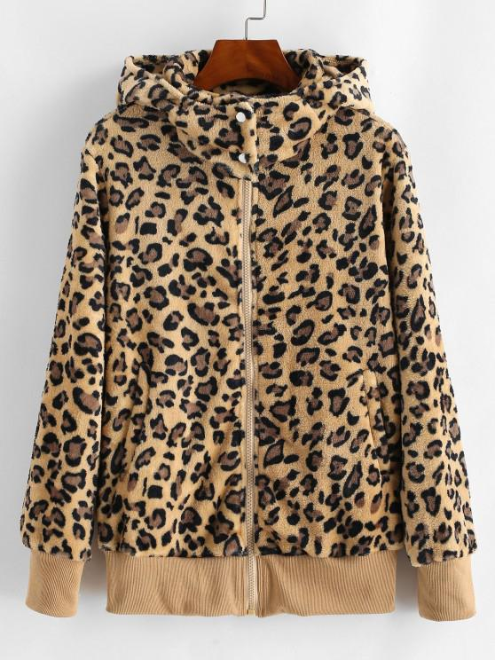Pockets Zip Up Leopard Faux Fur Coat - خشب M
