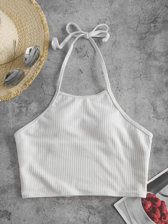 shop ZAFUL Halter Ribbed Cropped Swim Top - WHITE S