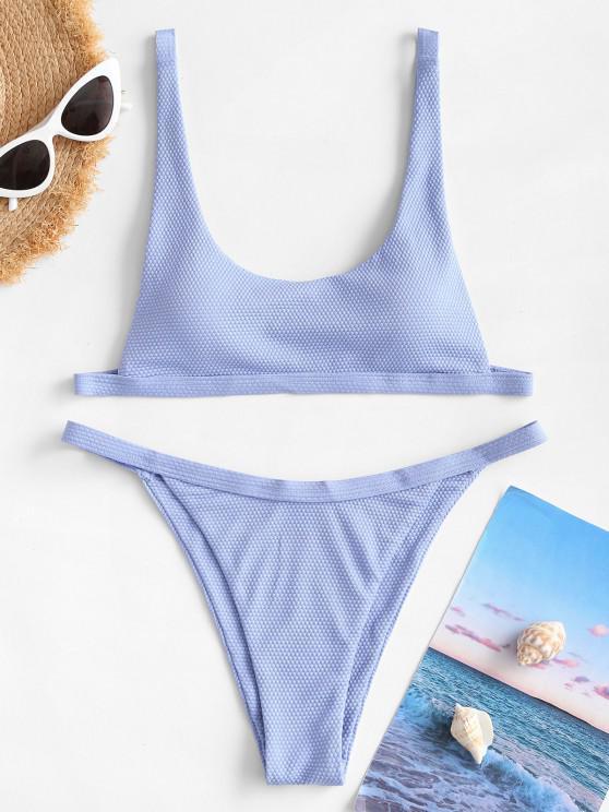 ZAFUL Textured Tanga Bikini Swimwear - أزرق فاتح S