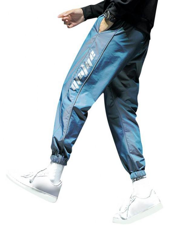 Pantalones Rayados Estampado Letras - Azul de Arándanos XS