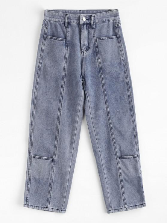 lady Multi Pockets Straight Leg Jeans - BLUE S