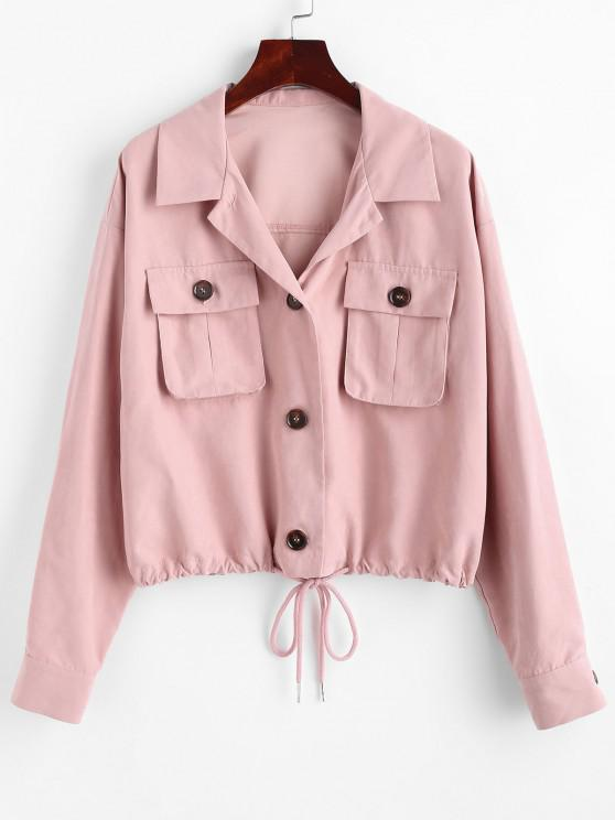 online ZAFUL Drop Shoulder Pocket Drawstring Hem Jacket - KHAKI ROSE S