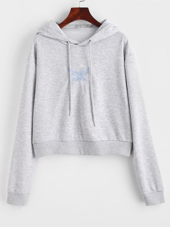 fashion Marled French Terry Butterfly Embroidered Hoodie - GRAY S