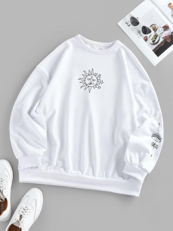 ZAFUL Oversized Graphic Sun Moon Print Sweatshirt - حليب ابيض S