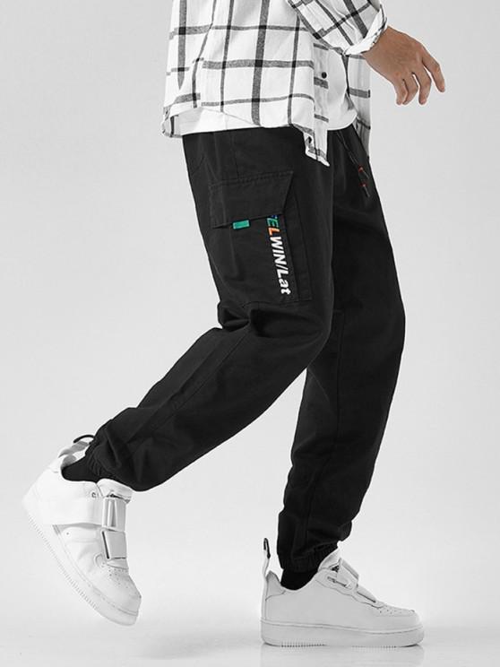 online Letter Embroidered Drawstring Jogger Cargo Pants - BLACK S