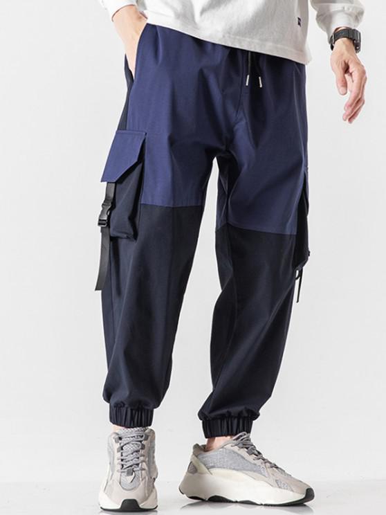 Colorblock Panel Flap Pocket Beam Feet Cargo Pants - الدينيم الأزرق الداكن XS