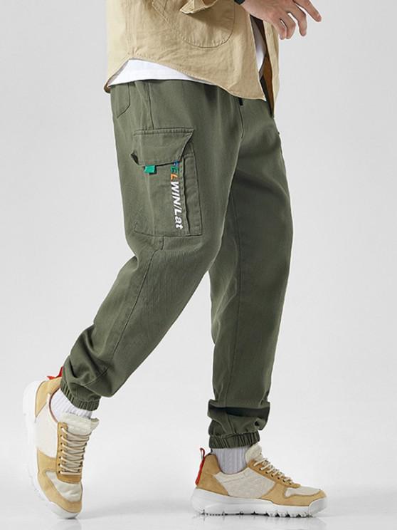 Letter Embroidered Drawstring Jogger Cargo Pants - الجيش الأخضر XS