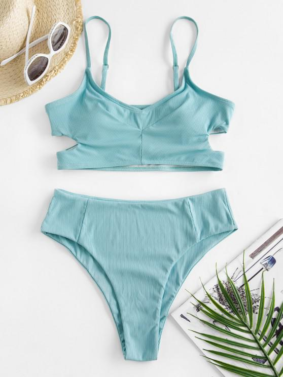 ZAFUL Cutout Ribbed High Leg Tankini Swimwear - أزرق فاتح M
