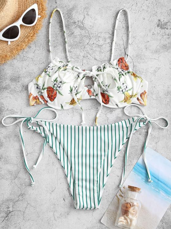ZAFUL Ribbed Floral Mix Striped Tie Underwire Bikini Swimwear - ديب غرين S