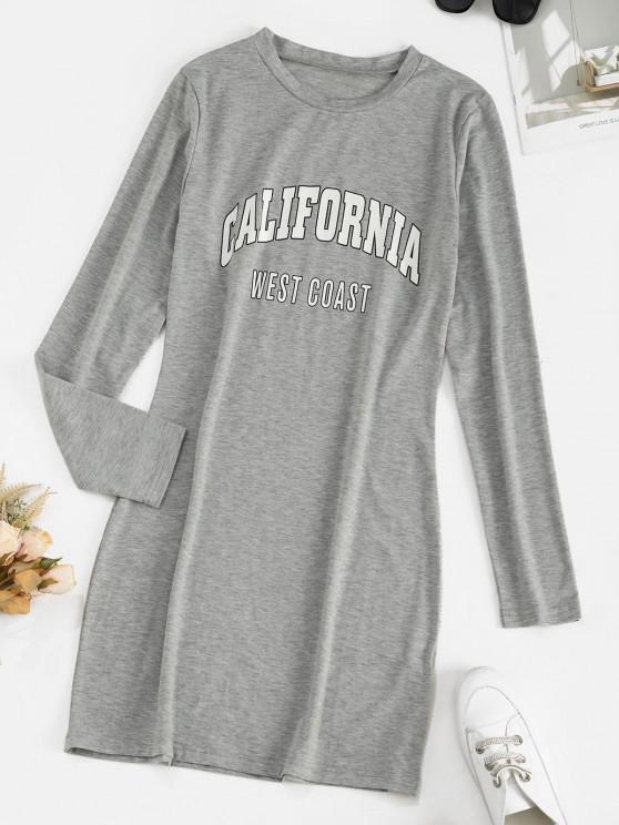 unique Long Sleeve CALIFORNIA Graphic Tee Dress - LIGHT GRAY XL