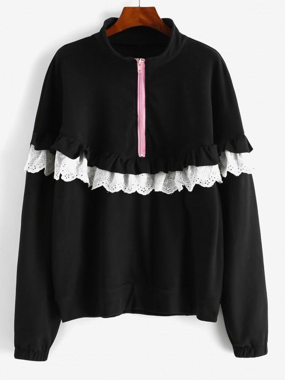 latest Ruffles Half Zip Eyelet Oversize Sweatshirt - BLACK M