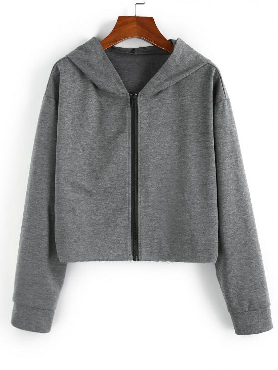 best ZAFUL Hooded Drop Shoulder Zip Up Heather Jacket - GRAY M