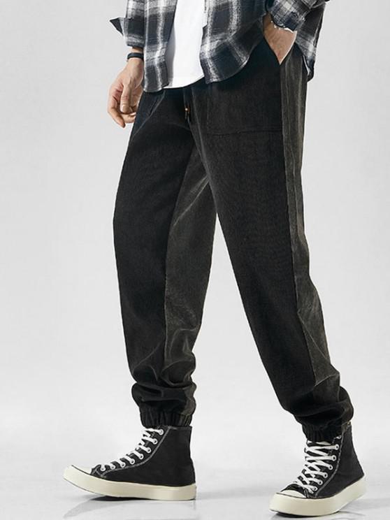 latest Drawstring Contrast Corduroy Casual Pants - BLACK 2XL