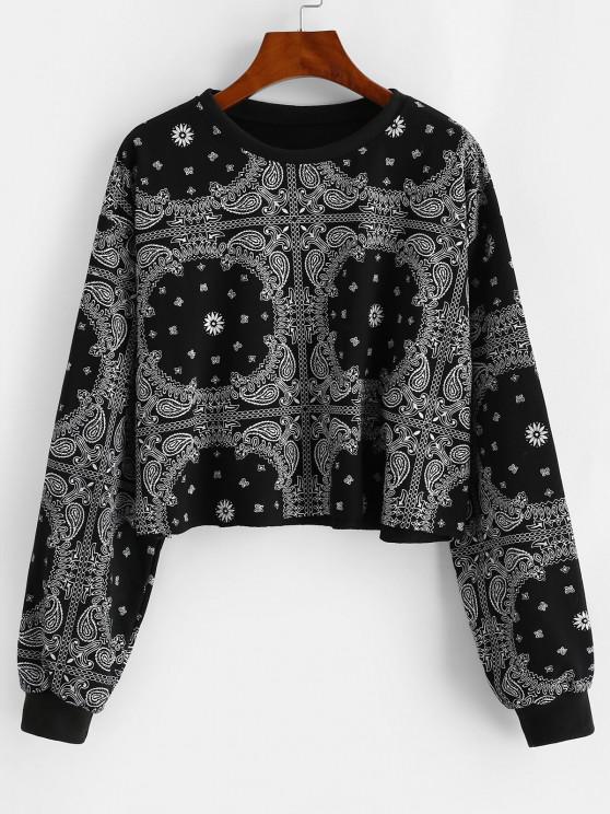 women's Drop Shoulder Paisley Bandana Print Sweatshirt - NIGHT ONE SIZE