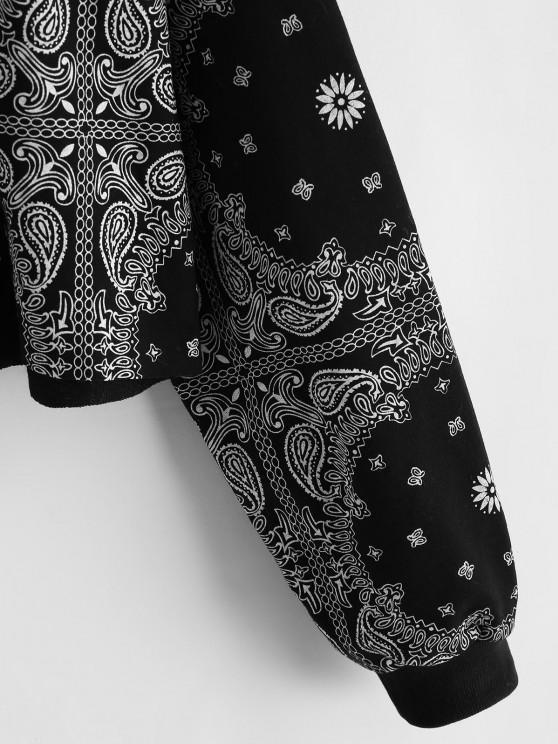 Drop Shoulder Paisley Bandana Print Sweatshirt - Night | ZAFUL