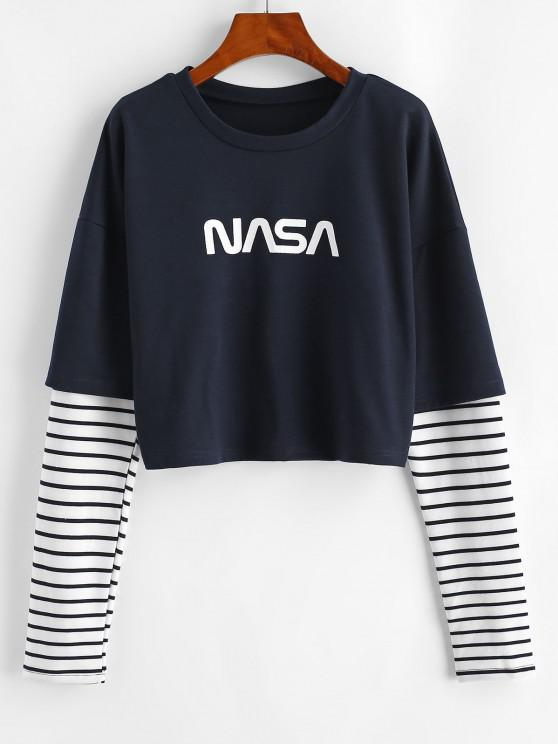 outfit Graphic Stripes Panel Combo Sweatshirt - DEEP BLUE L