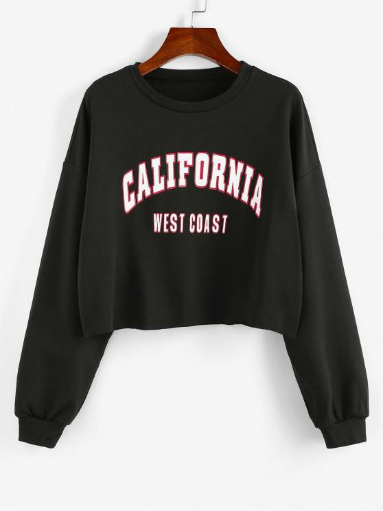 shops ZAFUL Letter Print Cropped Sweatshirt - BLACK S