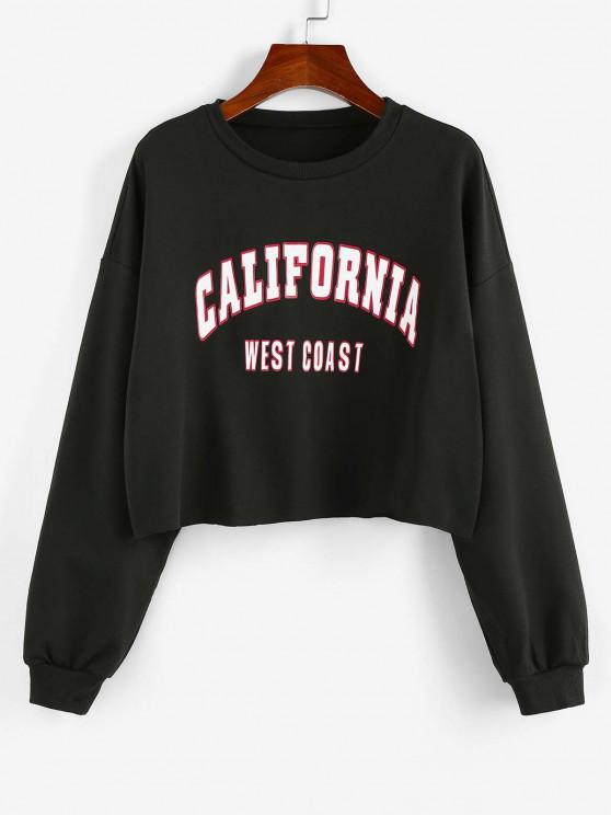 chic ZAFUL Letter Print Cropped Sweatshirt - BLACK L