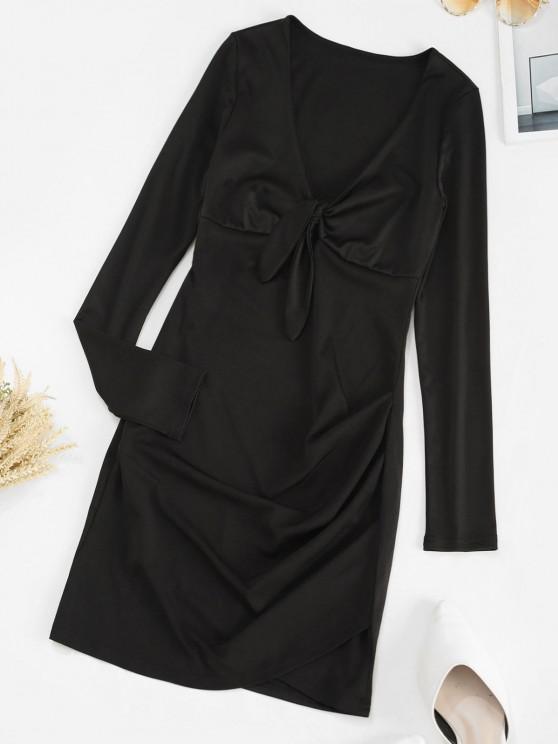 Mini Vestido de mangas compridas aberto afrente - Preto S