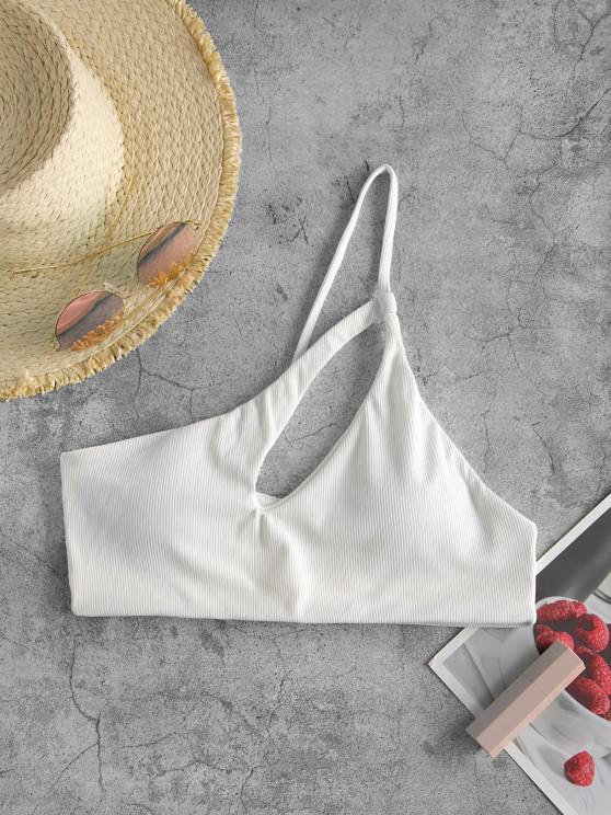 ZAFUL Bikini Top Recortado con Un Hombro - Blanco L