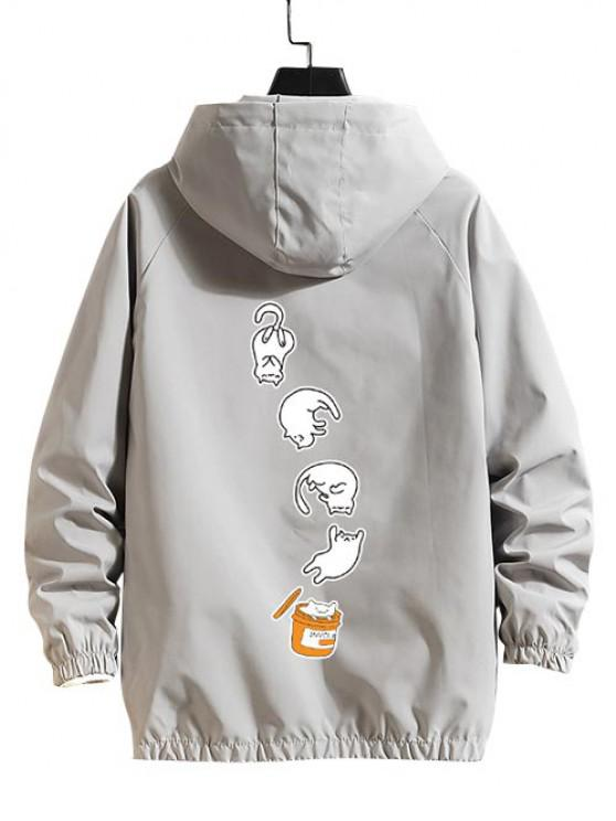 Cartoon Cat Pattern Raglan Sleeve Hooded Jacket - رمادي فاتح L