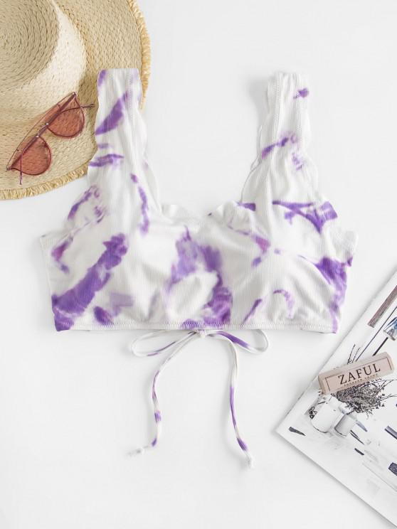 ZAFUL Plus Size Tie Dye Scalloped Lace Up Swim Top - ضوء ارجواني XXXL
