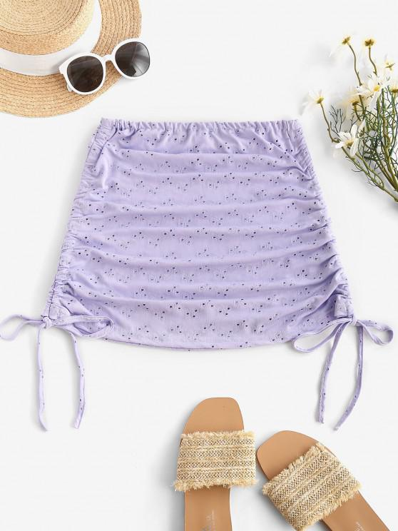 ladies Cinched Eyelet Cover-up Skirt - MAUVE ONE SIZE