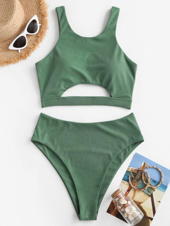 ZAFUL Ribbed Underboob High Cut Tankini Swimwear - اخضر فاتح L