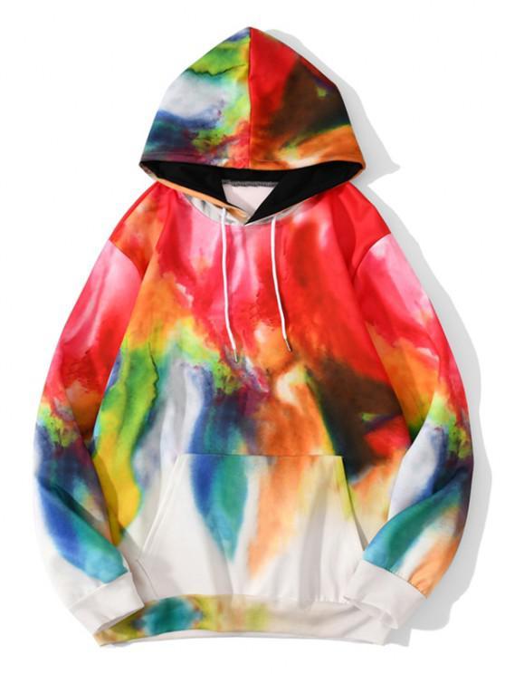 chic Tie Dye Print Hoodie - LAVA RED L