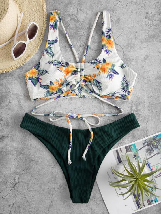 ZAFUL Gerippte Blumen Bikini Badebekleidung - Dunkelgrün S